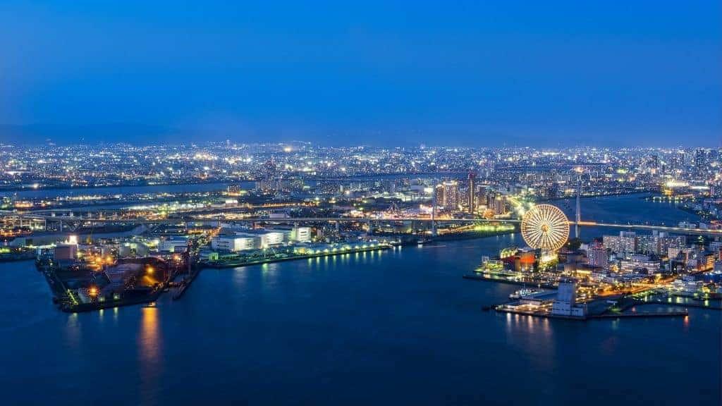A view of Osaka at night