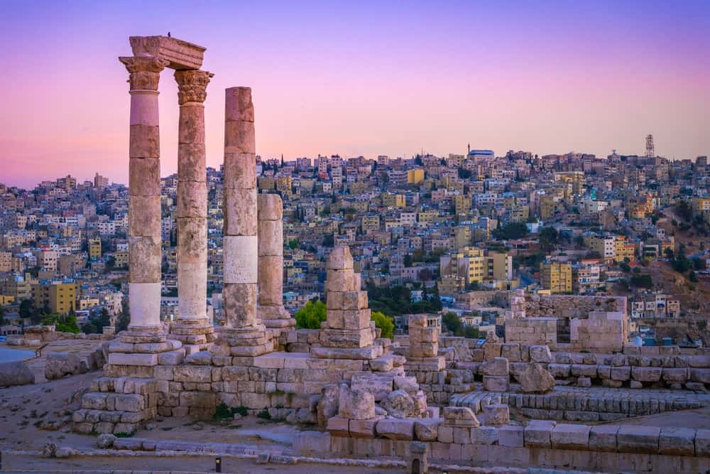 Roman ruins amid the cityscape of Amman, Jordan